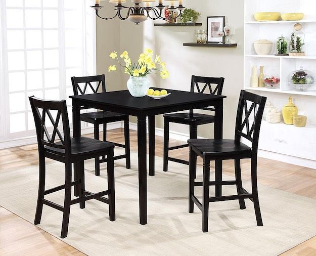5-piece High Dining Set | Black Friday Furniture Deals You Need To Know | Small Dining Room Set, Dining Room Table Set, Square Dining Room Table