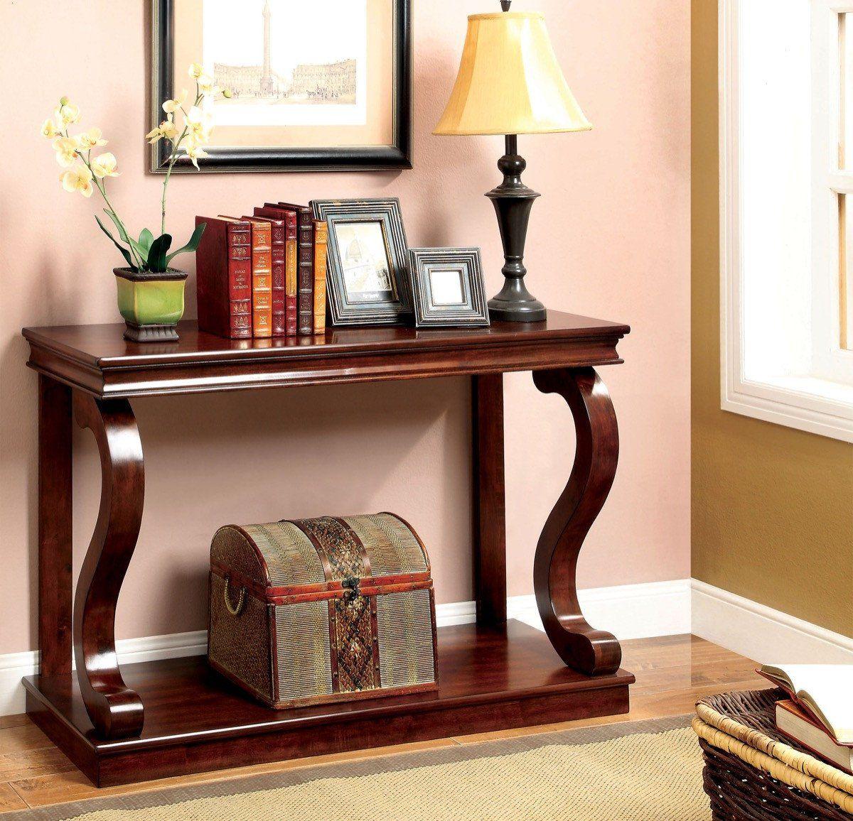 Furniture Of America Eve Beveled Edge Sofa Table Cherry Classic Console Table Furniture Of America Wood Console Table
