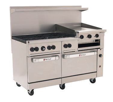 Wolf Range 60 6 Burners 24 Griddle Broiler C60ss 6b24gb Challenger Xl Restaurant Range 60 Gas 6 30 000 Btu Burners With Lift Gas Range Gas Oven