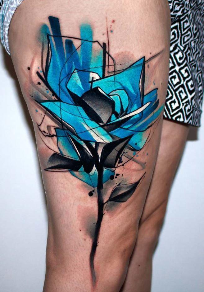 Flawless Blue Rose Tattoo