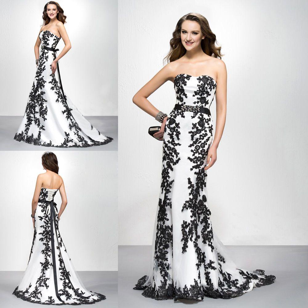 Noble white black lace applique eveing dress sash prom formal dress