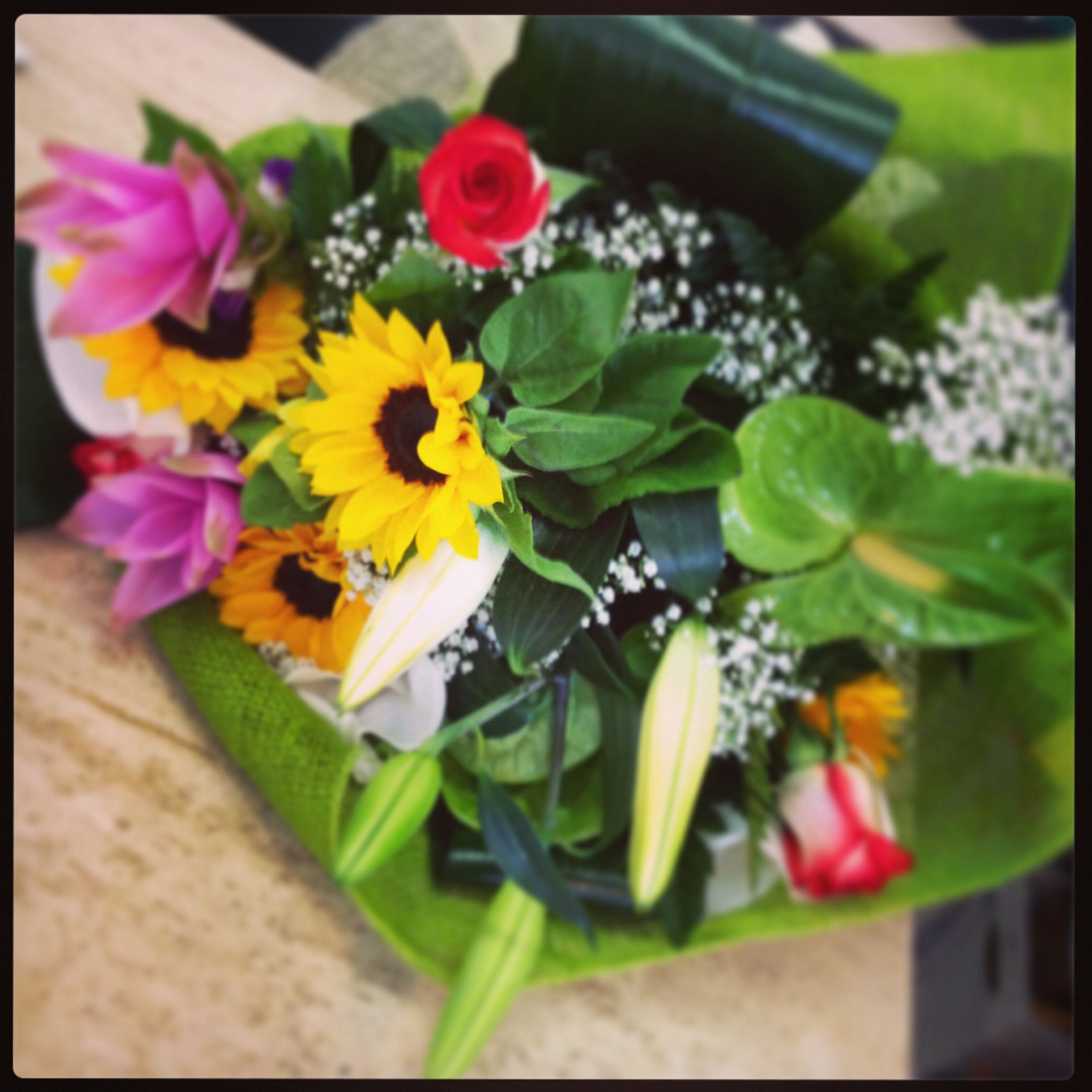 Bouquet Di Fiori Misti Per Compleanno Con Girasoli Rose Curcuma Lilium E Anturium Fiori Bouquet Di Fiori Girasoli