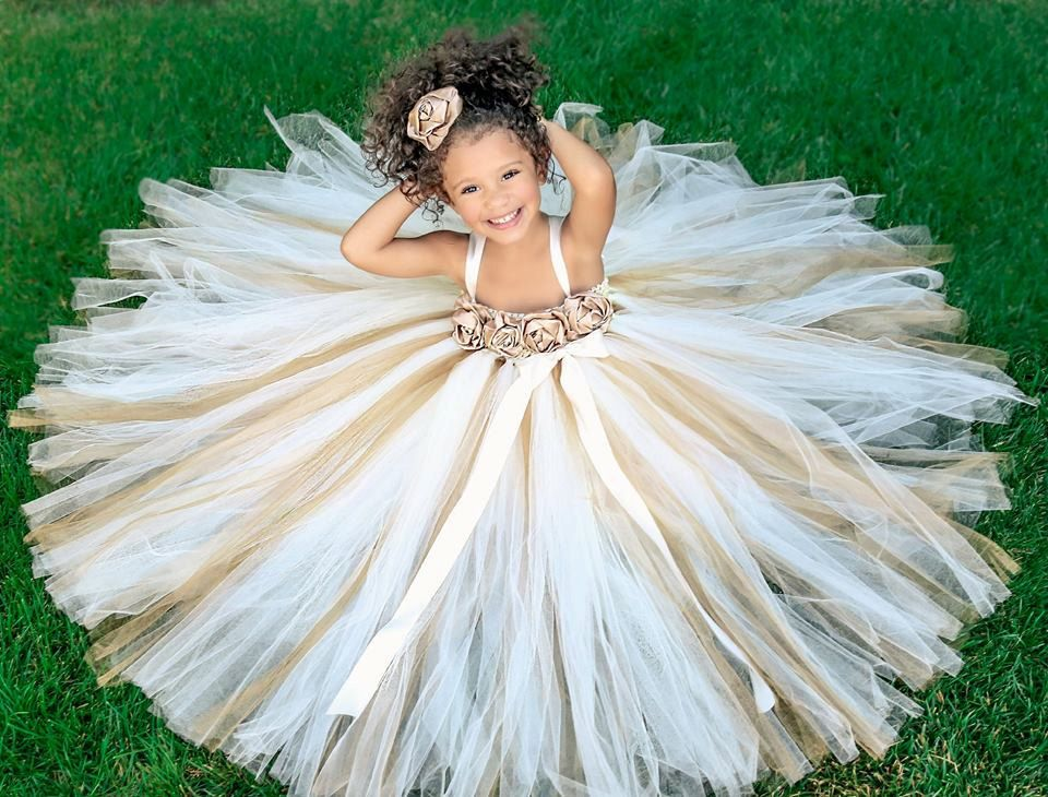 Ivory gold champagne flower girl dress by for Flowers for champagne wedding dress