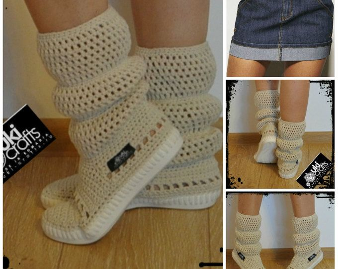 Crochet Boots Crochet Knitted Shoes adult Outdoor Boots for the ...