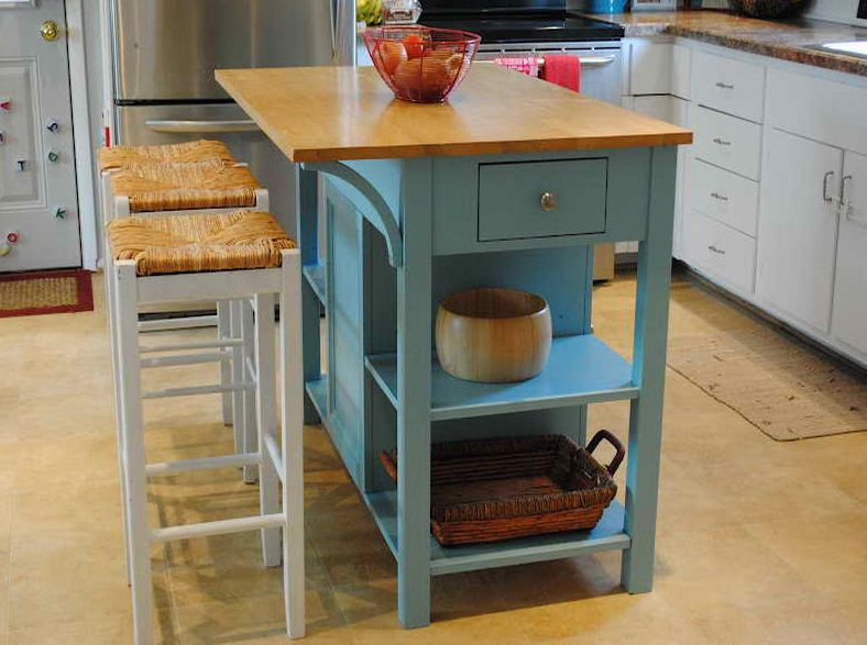Kitchen Island Small stock island makeover, kitchen in neutrals with white, wood and