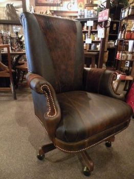 Western Office Chair Rustic Cowhide Leather