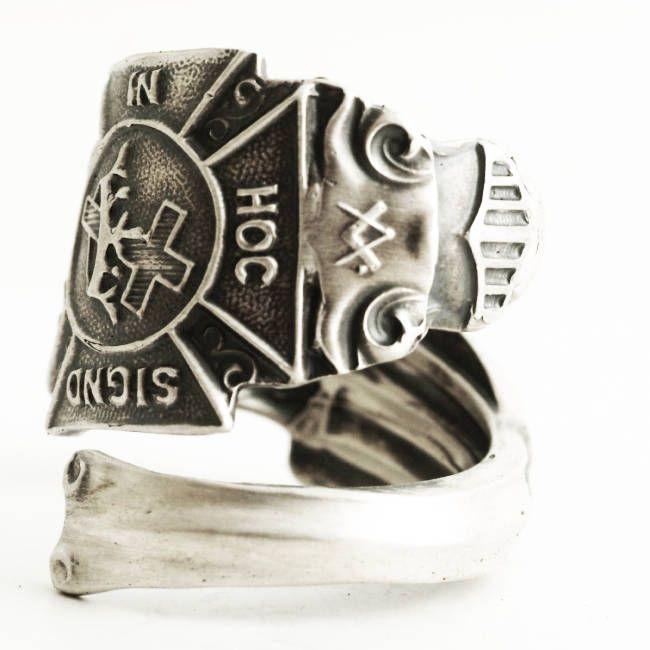 Knights Templar Ring, Masonic Ring, Sterling Silver Spoon