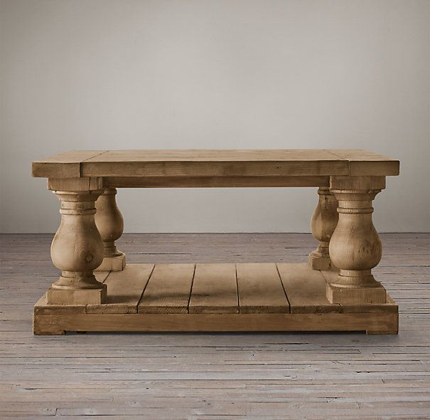 Balustrade Salvaged Wood Square Coffee Table from Restoration