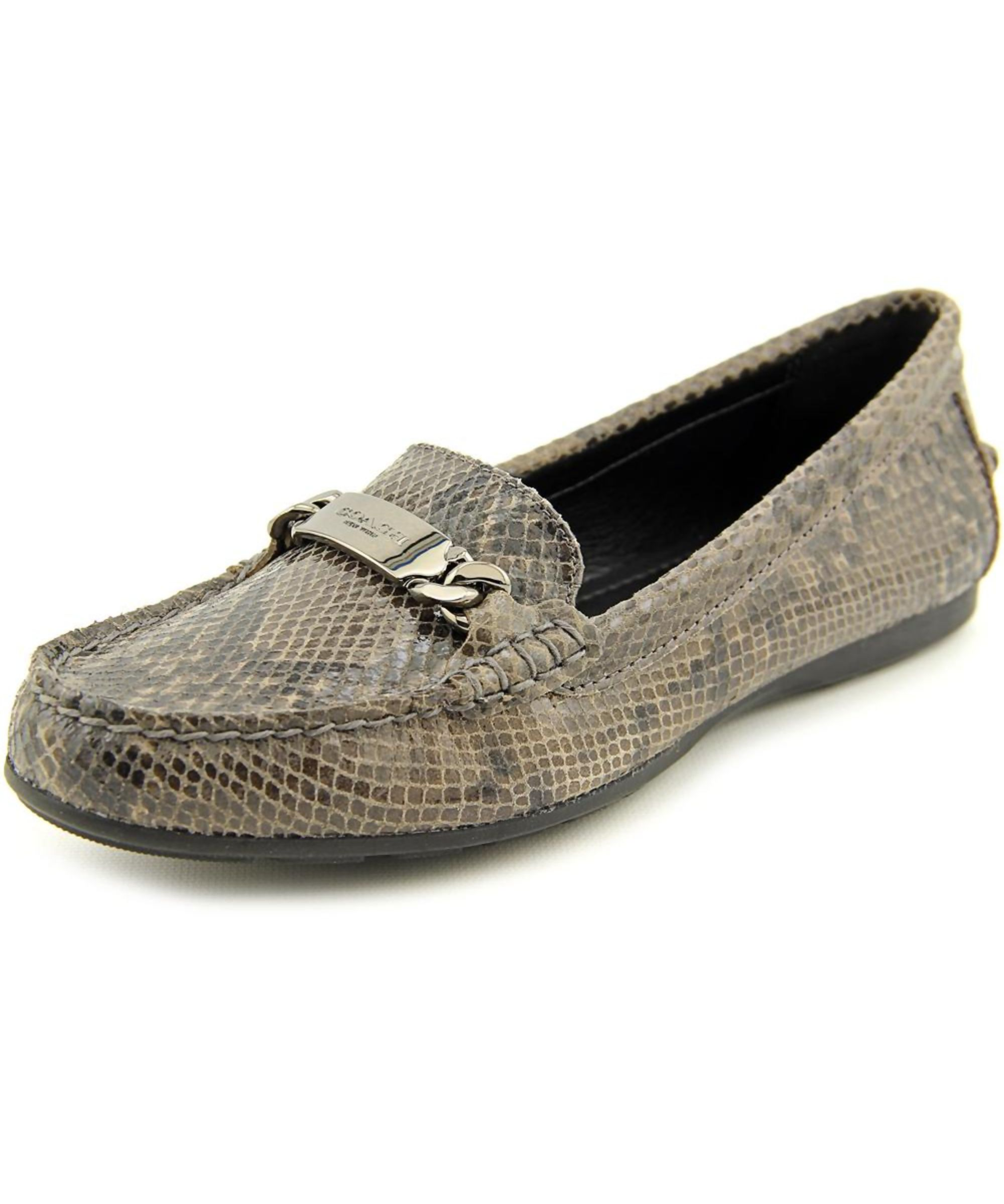 Coach Olive Sand Printed Snake Women Round Toe Leather Brown Loafer --  Check out the image by visiting the link.