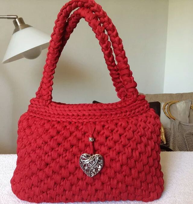 Bolso de trapillo bolsa tejida pinterest crocheted for Bolsos de crochet de trapillo