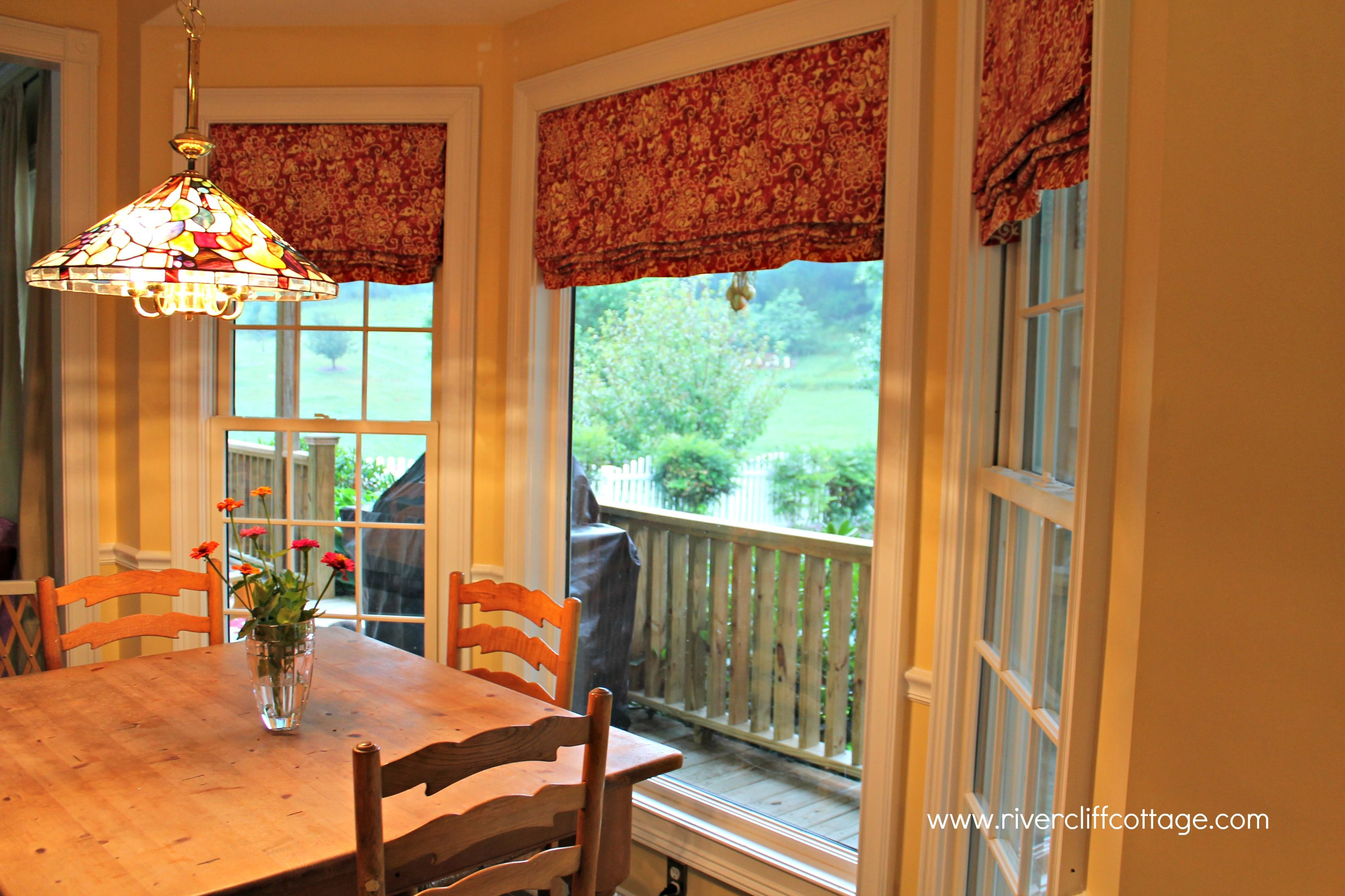 custom curtains for kitchens here s my new red and yellow stationary roman shades home. Black Bedroom Furniture Sets. Home Design Ideas