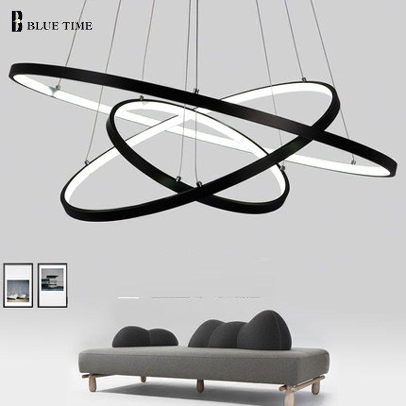 glod zwart wit kleur moderne hanglampen voor woonkamer eetkamer 4 3 2 1 cirkel ringen led. Black Bedroom Furniture Sets. Home Design Ideas