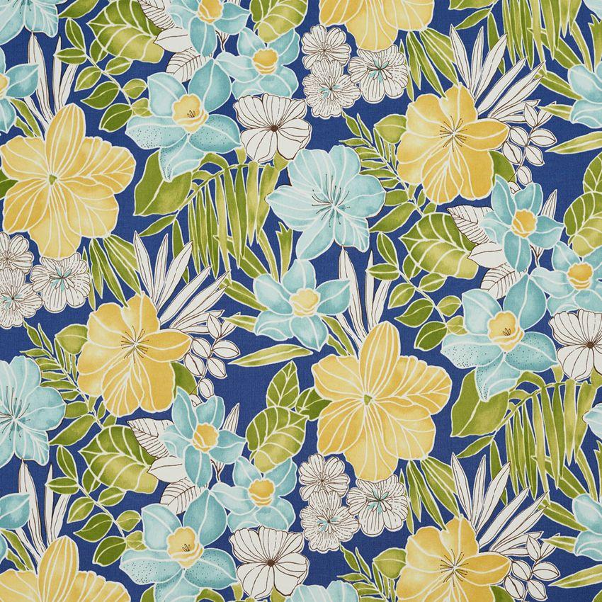Sunblue Aqua And Dark Blue Beach Print Drapery And Upholstery