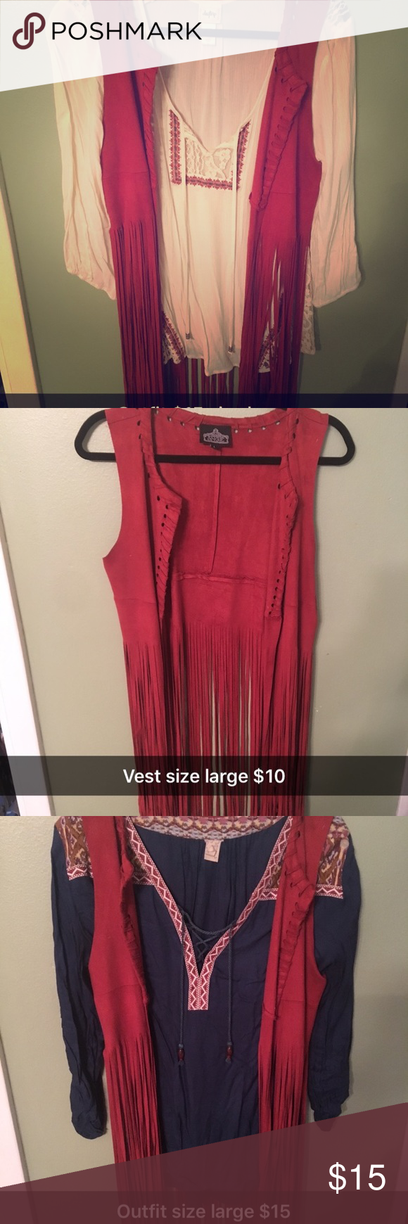 Vest and tops from buckle Size large outfit $15 separate pieces $10 Daytrip Tops Blouses