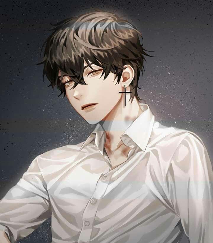 Anime Boy Black Hair And Earring Cute Anime Guys Anime Drawings Boy Black Hair Anime Guy