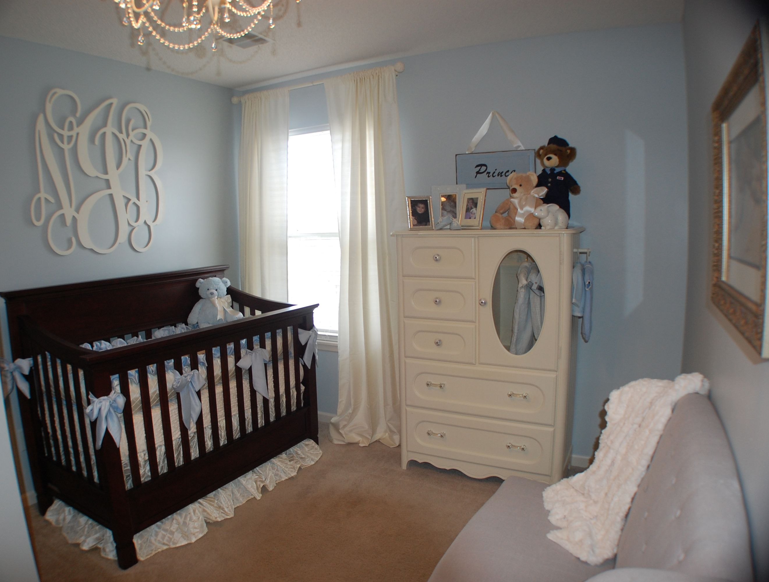 Baby Boy Nursery With Monogram Above The Crib Perfect Shade Of Light Blue Paint Sherwin Williams North Star 6246 It Looks Gray On Chip