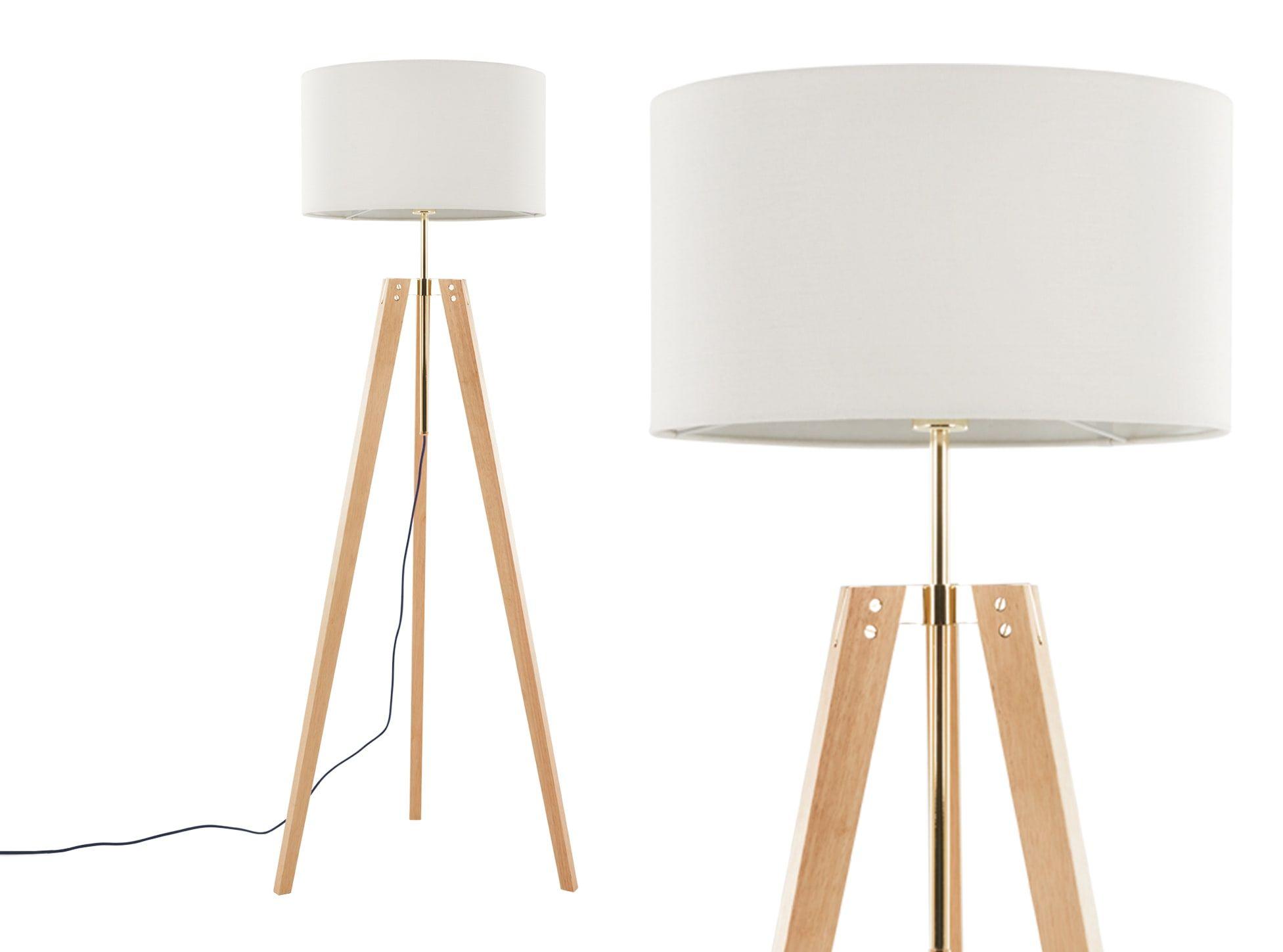 Irvin Tripod Stehlampe Holz Und Weiss Wooden Floor Lamps Tripod