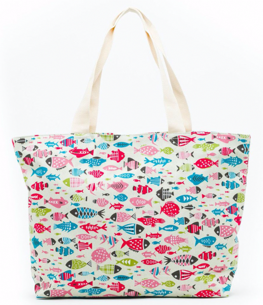 e5f9a0a1f23 A large cream canvas tote beach bag shopper with a multi coloured fish  pattern thick canvas fabric The bag fastens with a zip to the top  Measurements