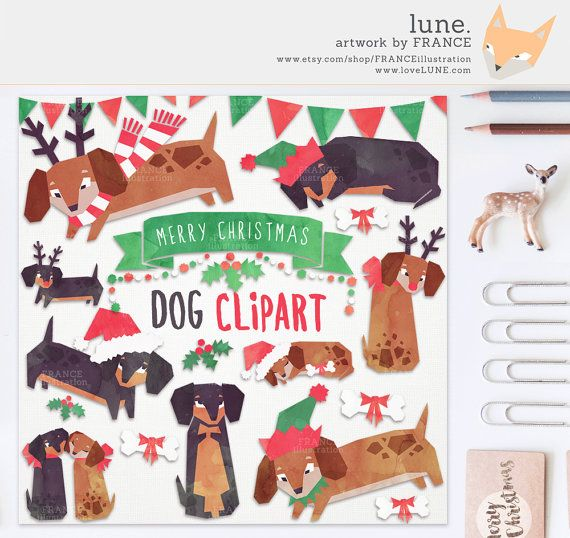3 For 2 Christmas Clip Art Watercolor Dachshund Dog Clipart