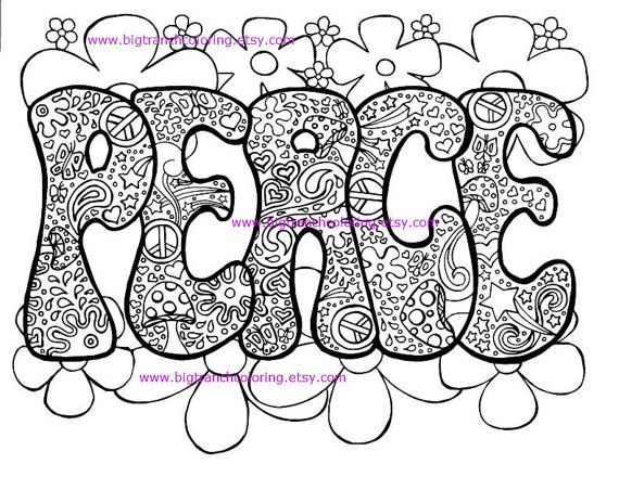 adult coloring page hippie retro peace colouring printable instant download - Peace Coloring Pages