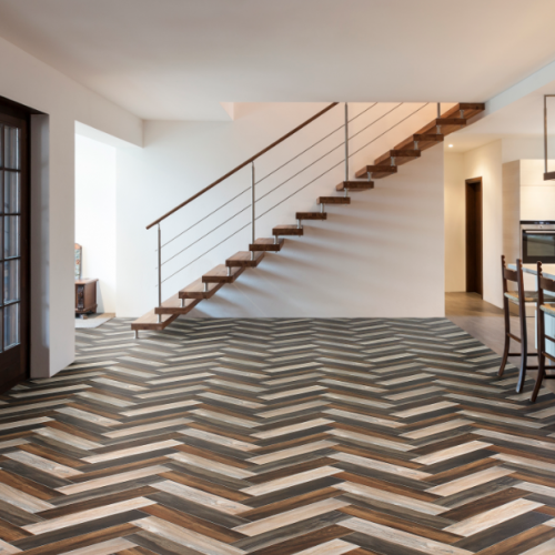 multi coloured herringbone design cushioned vinyl flooring roll