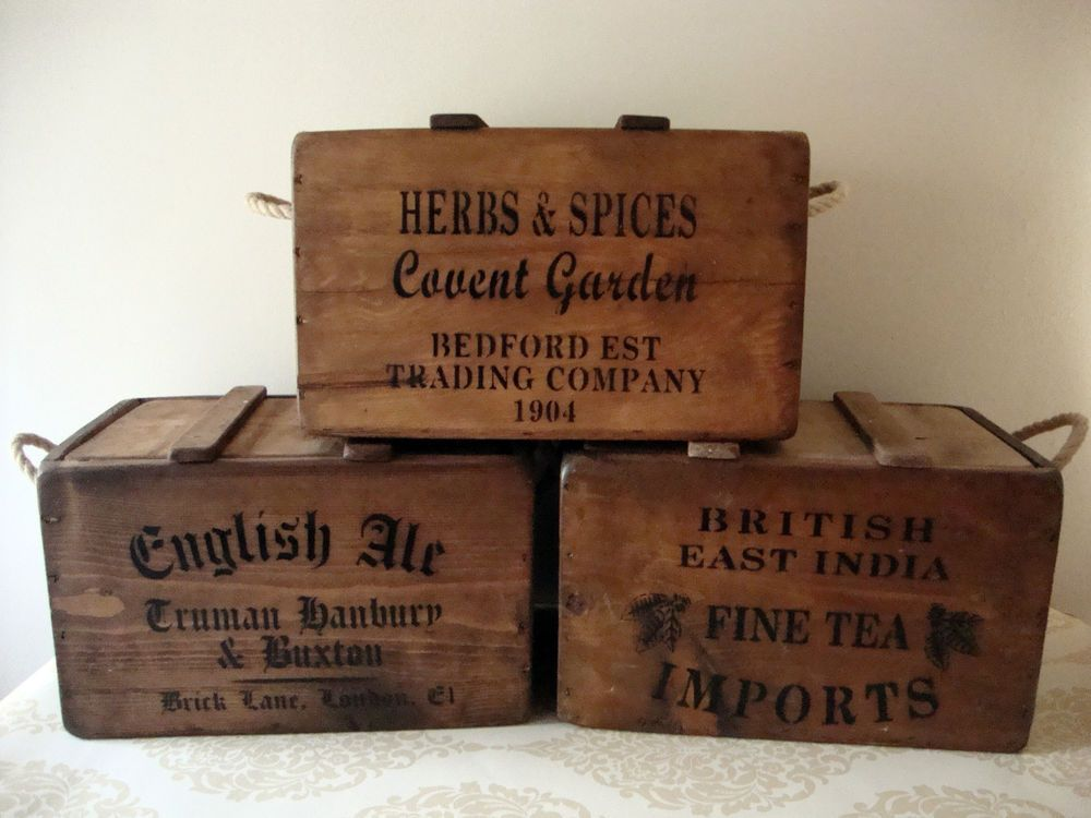 Rustic Vintage Wooden Lidded Chests Boxes Crates
