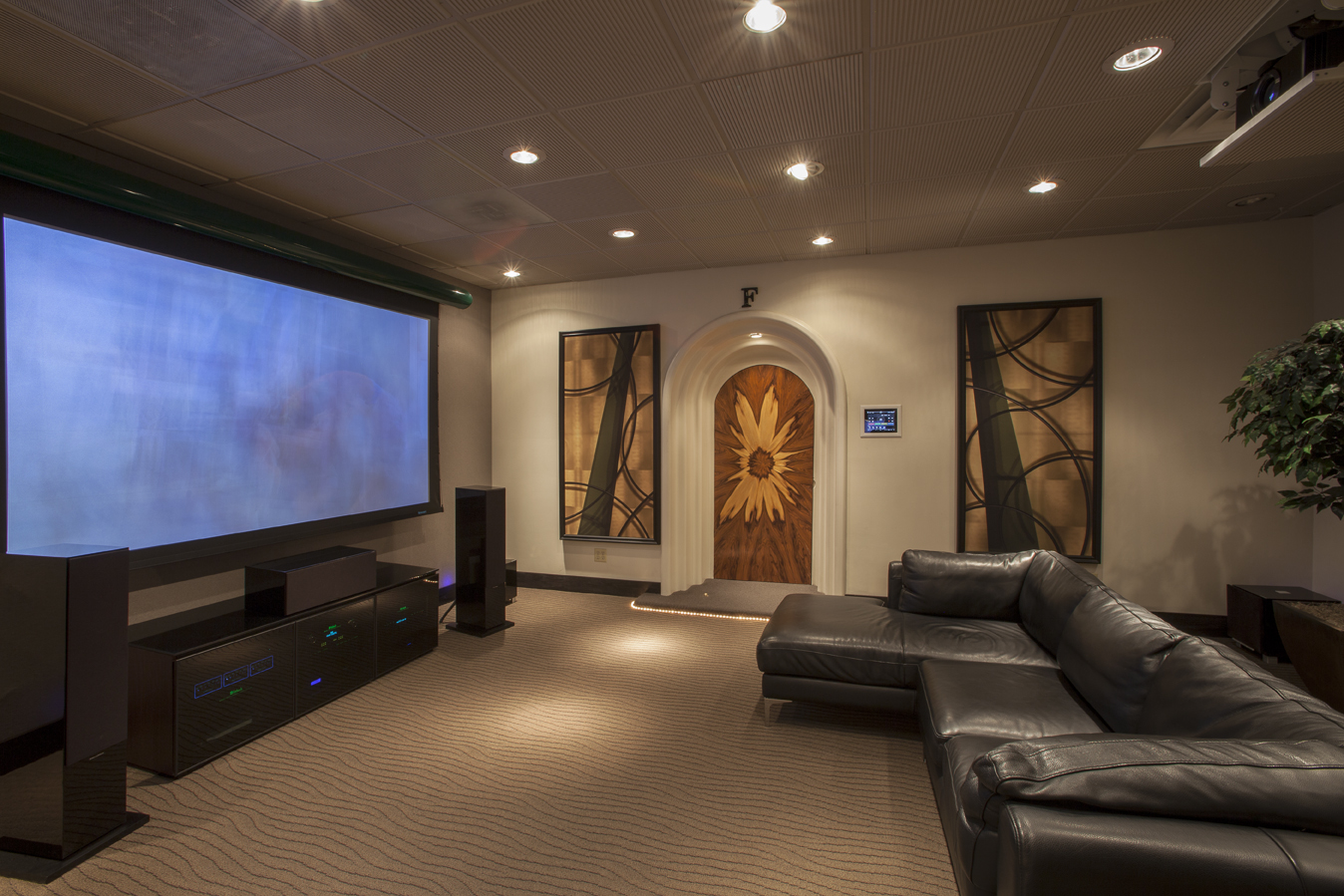 Living Room With Projector And Projector Screen In Ceiling Tv