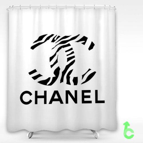 Chanel Logo Zebra Pattern Shower Curtain