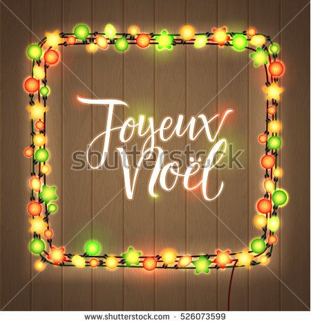 Merry Christmas French Language Glowing Christmas Lights Wreath For Merry Christmas In French Merry Christmas And Happy New Year Holiday Greeting Card Design
