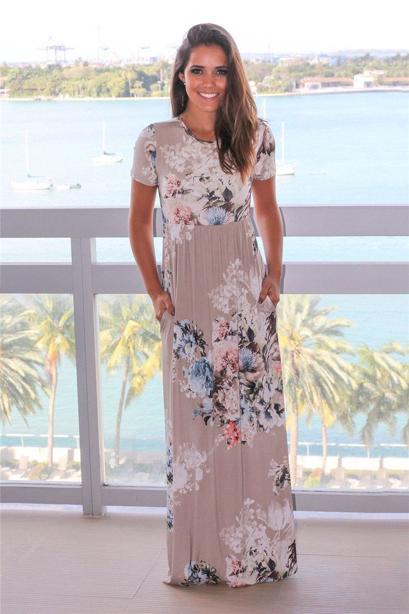 dcd993ad6f7 ELSVIOS Women Bohemia Floral Print Summer Dress 2018 Casual Short Sleeve O  Neck Beach Boho Long Dress Loose Maxi Dresses Vestido