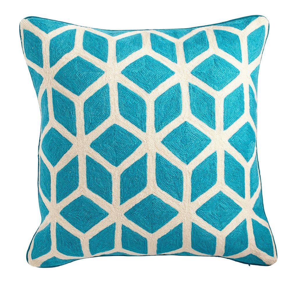 Cubed Pillow Cover – Turquoise