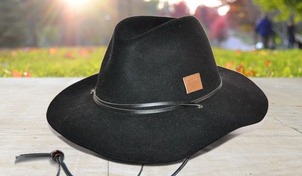 Wool Panama Hat with Leather Crown Band and Chin Strap