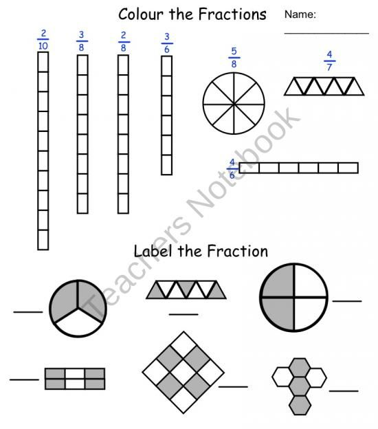 Fraction Printables product from Teaching-The-Smart-Way on