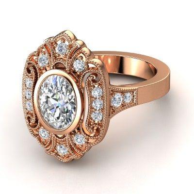 Oval Diamond 14K Rose Gold Ring with Diamond | Arya Ring | Gemvara