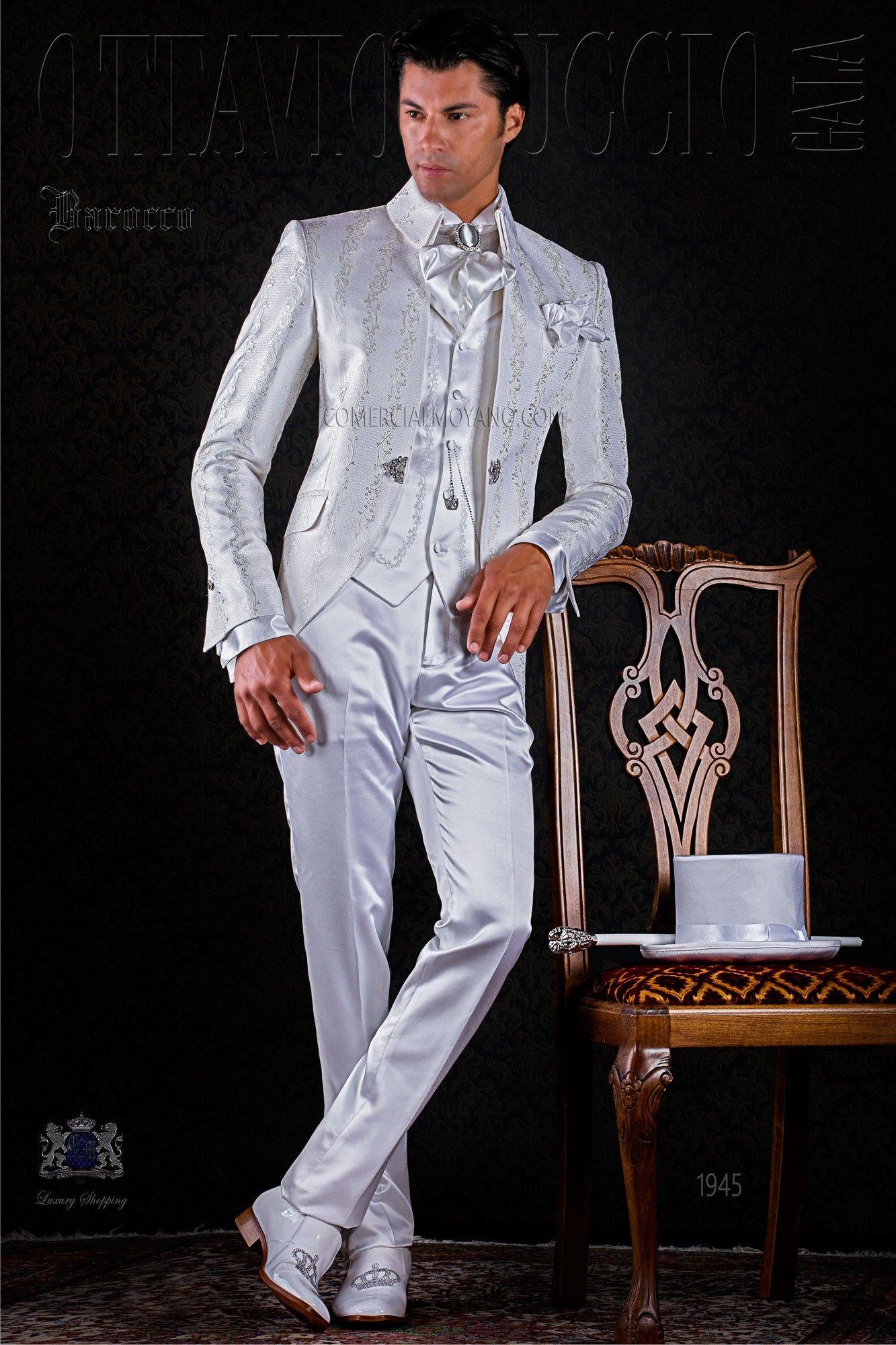Barock weißer Hochzeitsanzug aus Brokat Ottavio Nuccio Gala ...