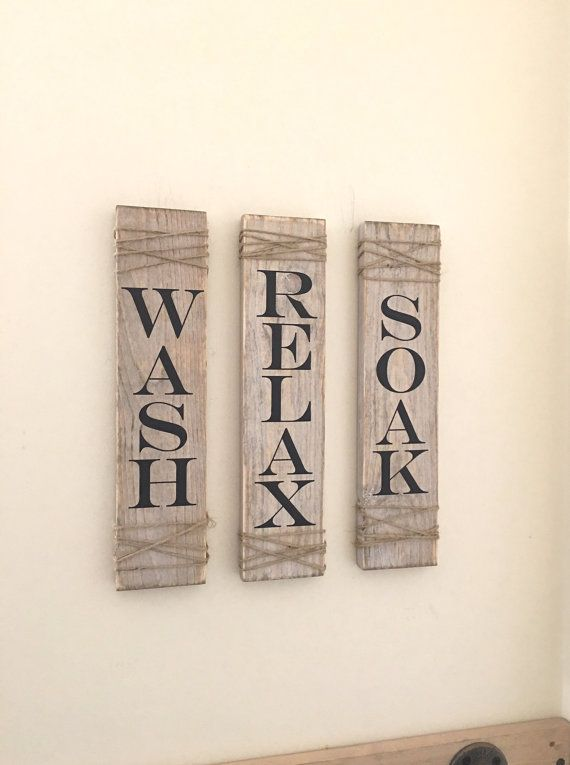 Photo of Rustic Bathroom Signs, Set Of Three, Rustic Bathroom Decor, Rustic Bathroom Sign, Farmhouse Wall Decor, Wall Hanging, Wash Soak Relax Signs