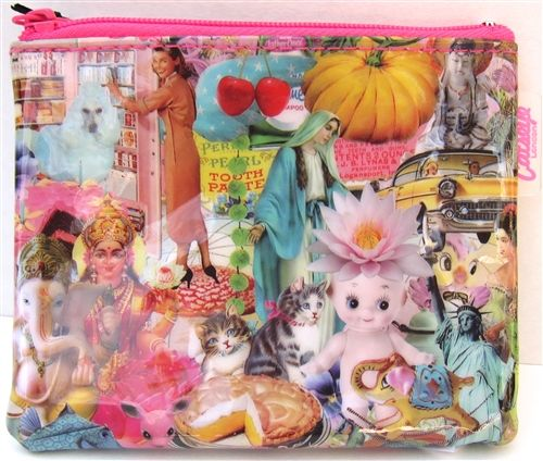 458bfafb61c Karma Kitsch coin purse by Catseye London. A wild print with troll dolls,  the Statue of Liberty, cats, pie and more! This design has been  discontinued and ...