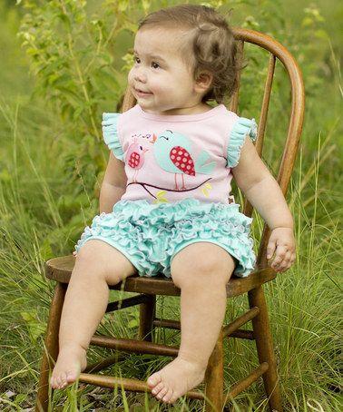 Another great find on #zulily! Pink & Blue Bird Ruffle Romper - Infant #zulilyfinds
