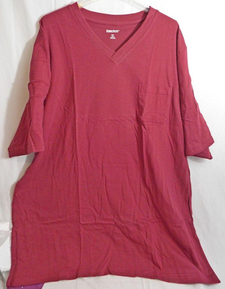 Men's Big & Tall V Neck 1 Pocket T-Shirt in Burgundy 2XLT 3XLT by ...