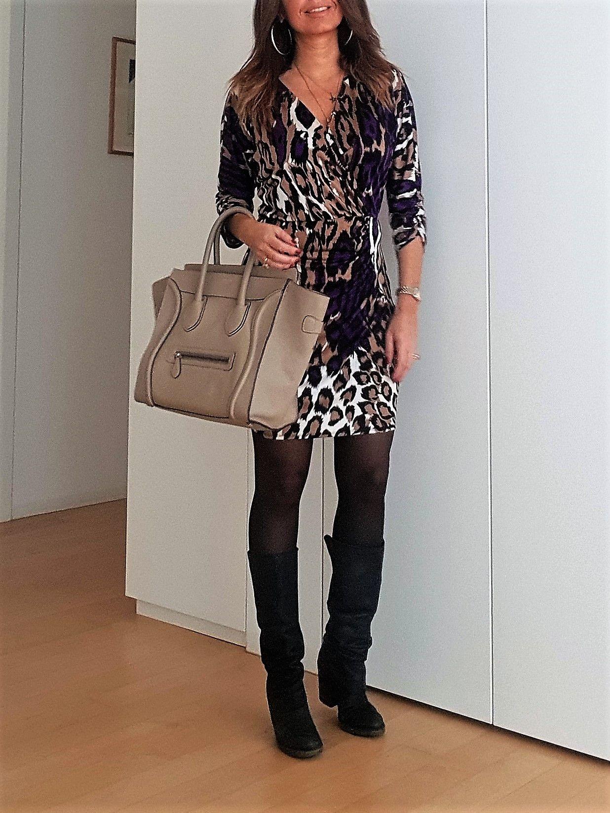 Leopard print dress    Abito leopardato outfit  Céline Mini  IT Bags  Come 910fd7d8fd6