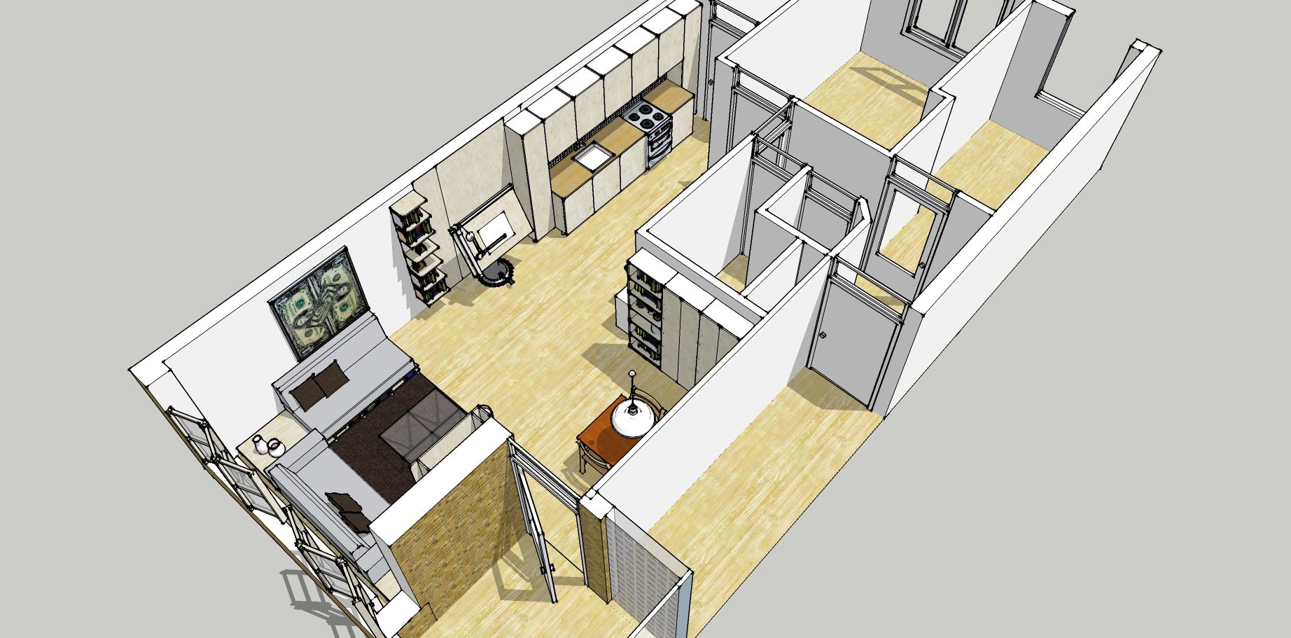 Bird eye view of google sketchup plan for redecoration of Birds eye view house plan