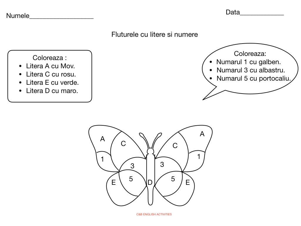 Fluturele Cu Litere Si Numere With Images