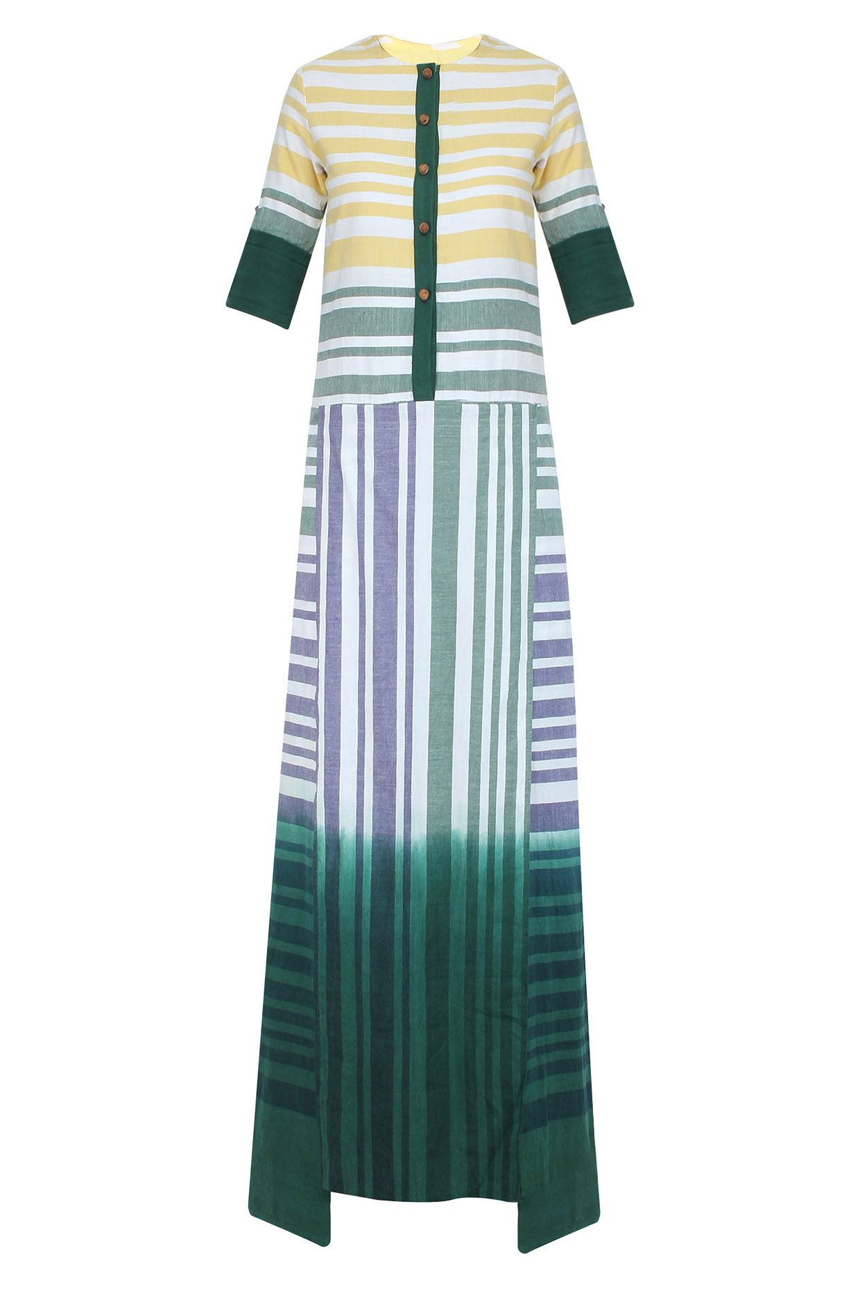 White yellow and green striped long maxi dress available only at