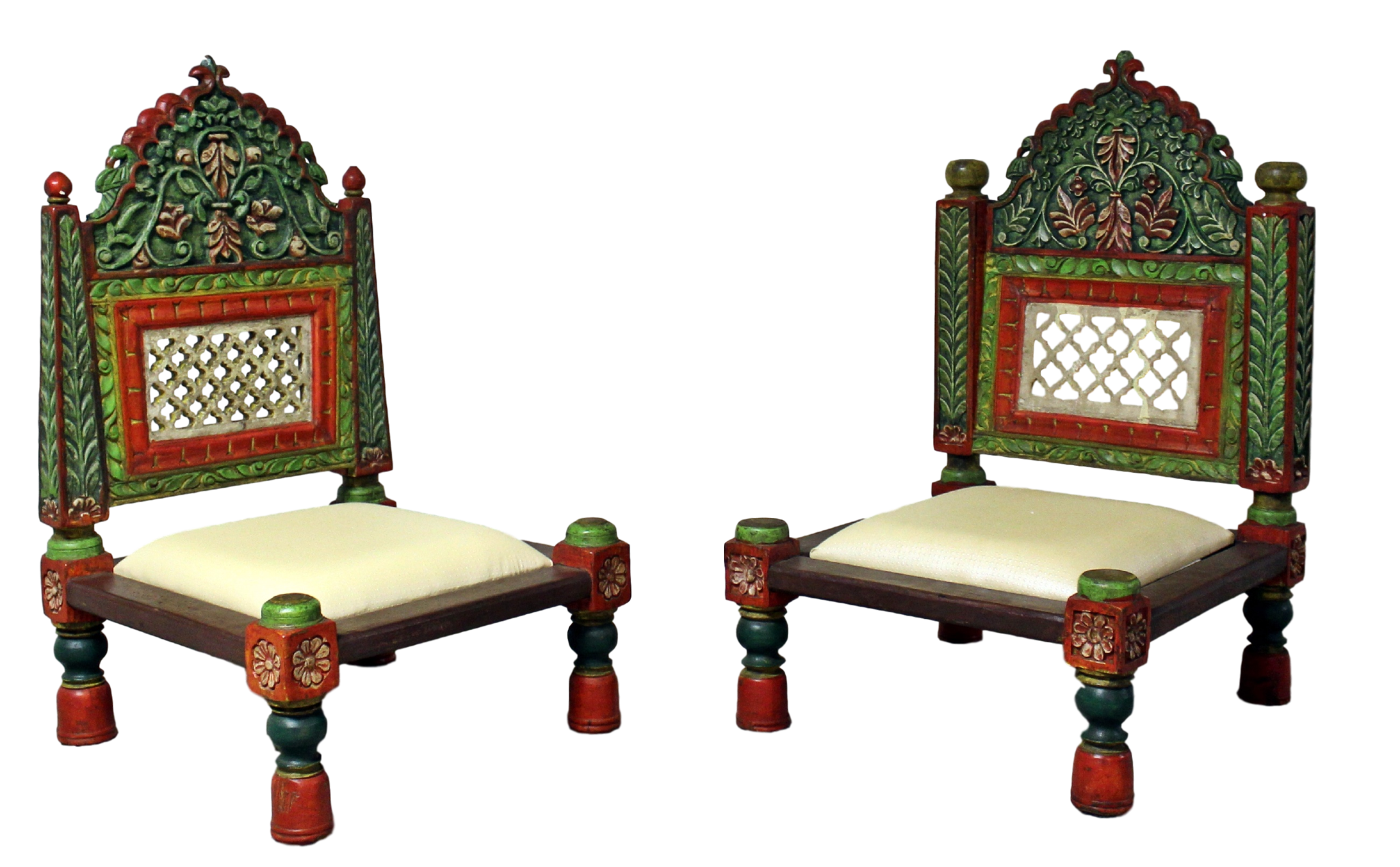 This Is A Traditional Low Height Teak Wood Tribal Style Chair With Carved Hand Painted Back And Legs It Has Carved Tu Teak Wood Carved Chairs Carved Furniture