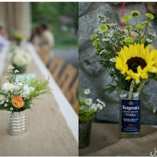 Recycled cans & bottles as vases