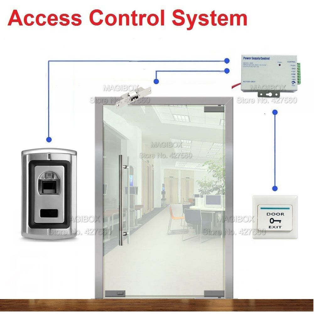 Fingerprint Door Access Control System For Frameless Glass Electric Strike Lock Power Supply Switch