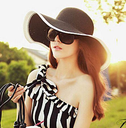 0cf7b4ed Flower black floppy straw hat for women wide brim UV beach sun hats ...