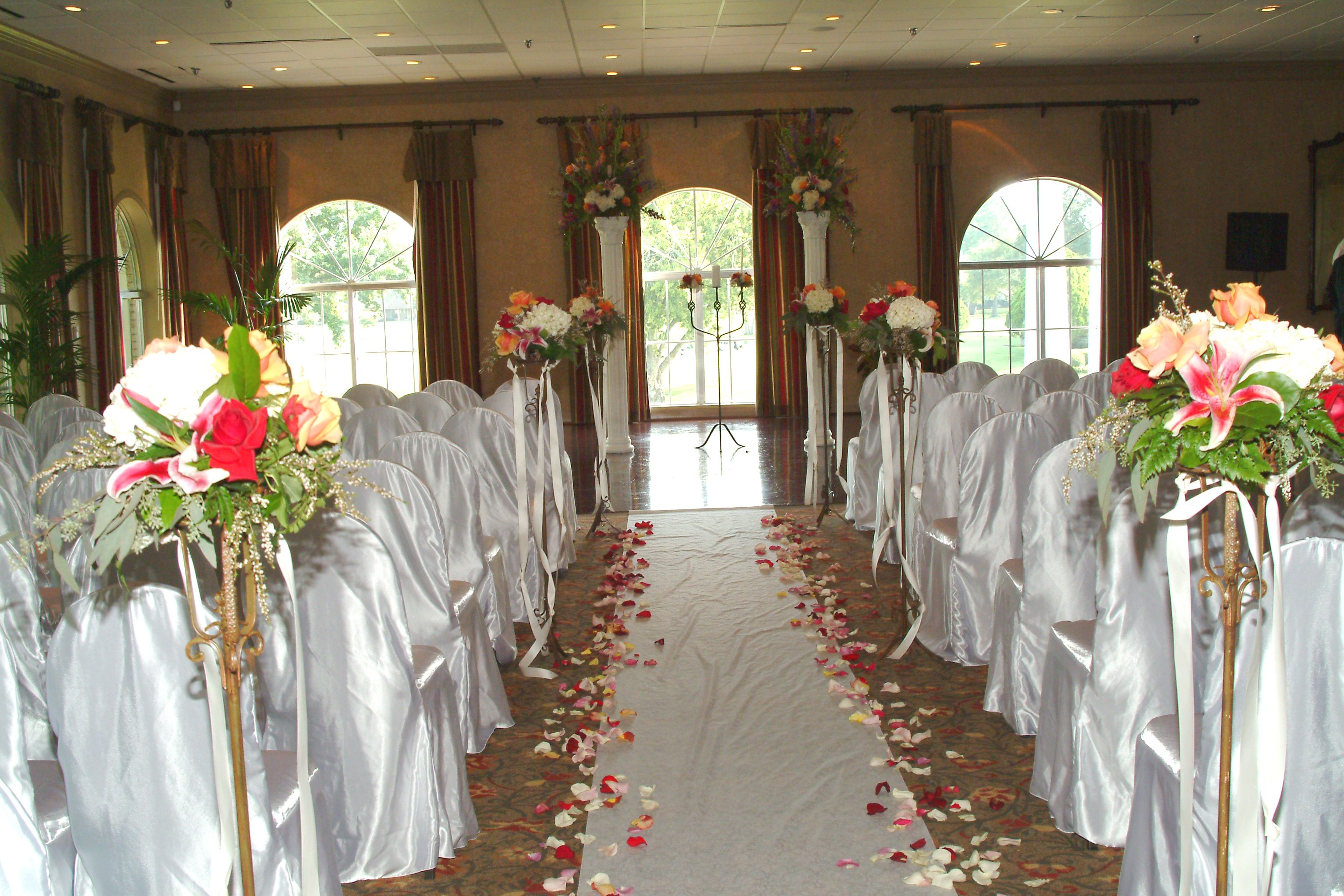 Indoor Ceremony in the Garden Room with Satin Fitted Chair Covers
