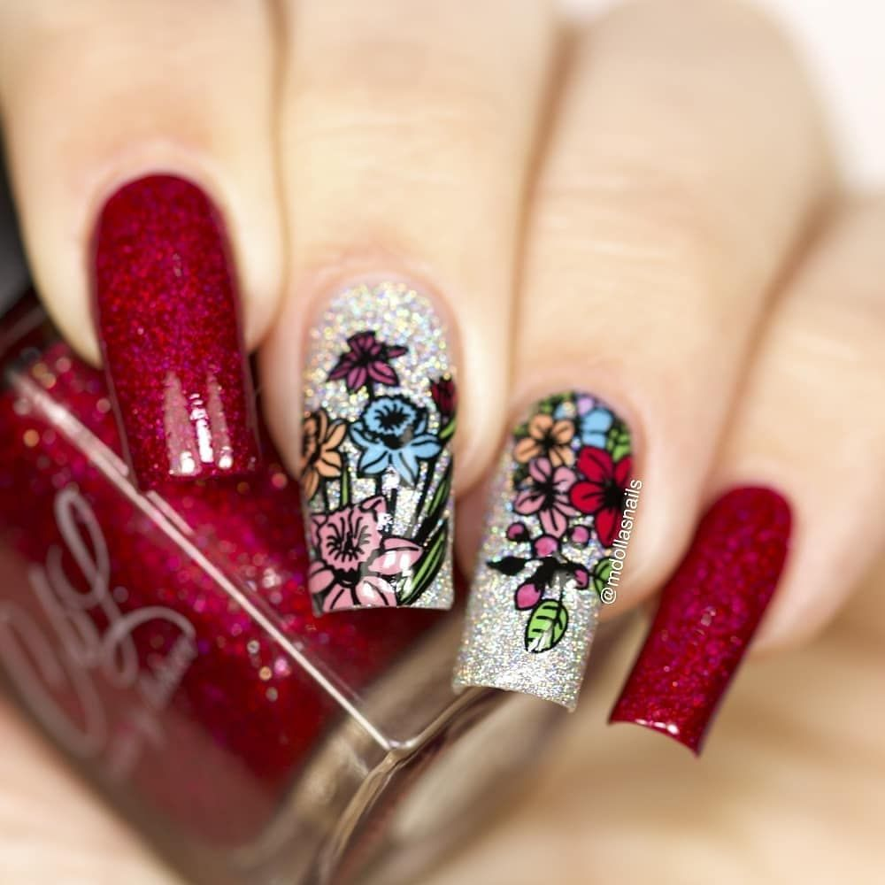 Pretty Floral Nails Here Manicured By Mdollasnails Colorful