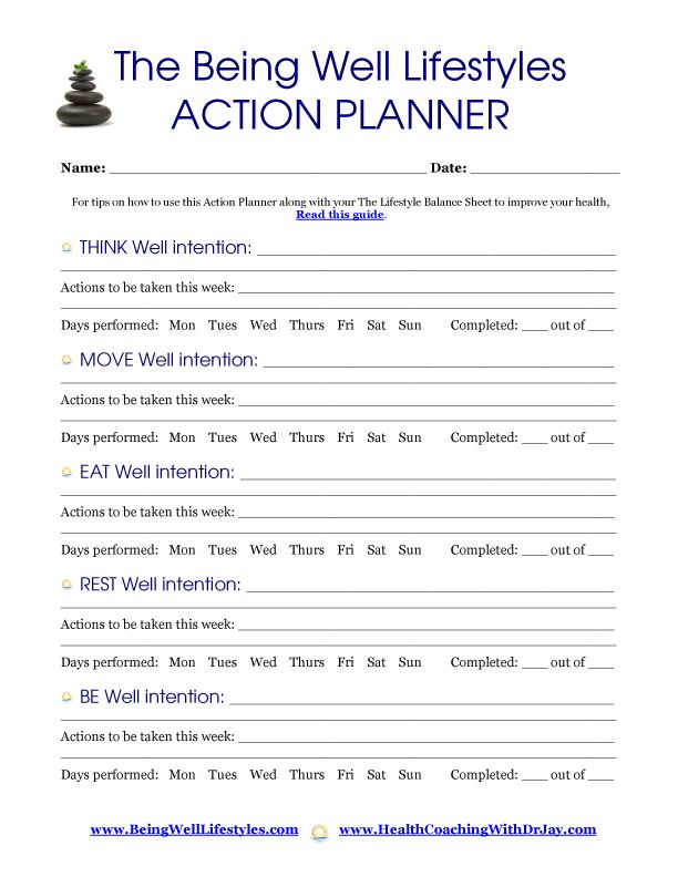 Action planner Choose Wellness Pinterest - sample personal action plans
